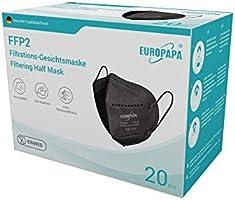 EUROPAPA® 20x FFP2 Schwarz Maske 5-Lagen Mundschutzmaske CE Stelle zertifiziert Atemschutzmasken hygienische...