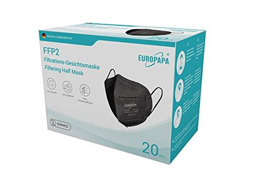 EUROPAPA 20x FFP2 Schwarz Atem Staub Schutzmaske 5-lagig CE2163 + zusätzlich geprüft durch Dekra Atemschutzmasken hygienische Einzelverpackung