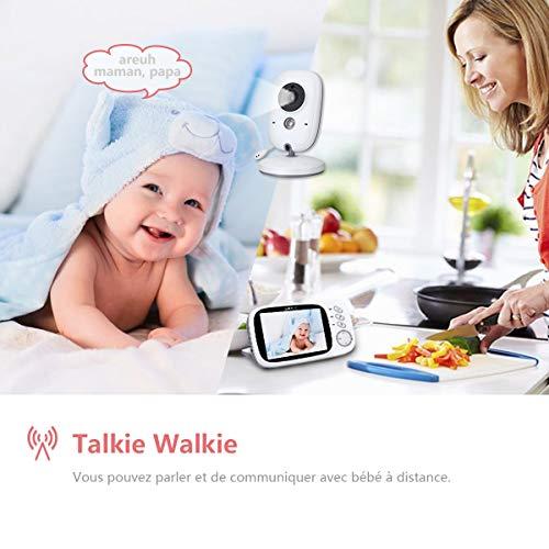 Babyphone Caméra Vidéo sans Fil 3,2 Pouces, AWANFI Moniteur Bébé 2,4 GHz Caméra Surveillance...
