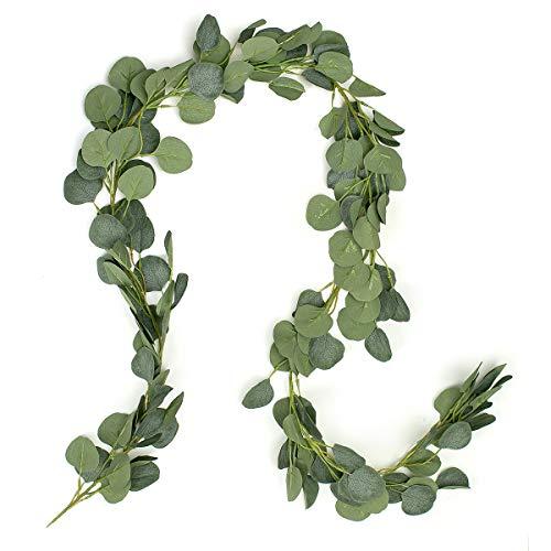 Oumezon eucalyptus slinger kunstmatige plant, eucalyptus bladeren decoratie slinger bruiloft krans kunstplant vakantie huwelijk decoratie accessoires, palm tropische planten kunstbladeren met 20 m henneptouw