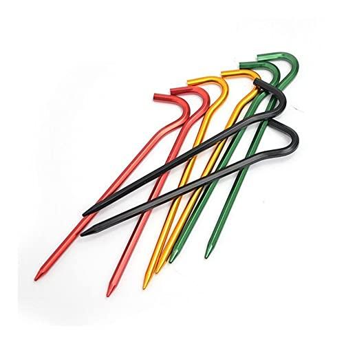 JINGGEGE Jengijo 5 unids 7-en Forma de aleación de aleación de aleación de uñas al Aire Libre Camping Color Tent Pegs Estacas Hook Pin High Fuerza Viento Cuerda de Cuerda Clavo (Color : A)