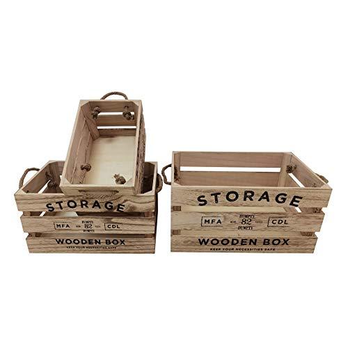 Rebecca Mobili Set 3 Cassette, Scatole Decorative, Legno Beige, Retro, Porta Bomboniere Oggetti - Misure: 19 x 38 x 27 cm (HxLxP) - Art. RE6528