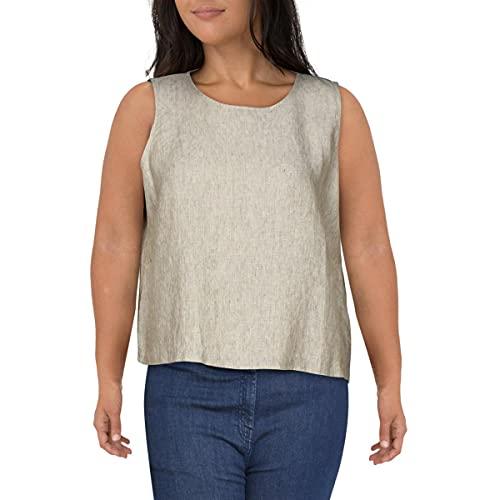 Eileen Fisher Womens Organic Linen Split Sides Blouse Tan XL