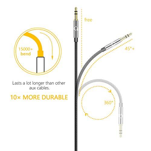 Gritin Cable de Audio, Cable Jack 3.5mm y Macho Macho de Nylon Trenzado Premium Cable Aux Auxiliar para Auriculares, iPods, Phones, iPads, Audio de Coche, Smartphones, MP3 y Más - Negro(1.5M)