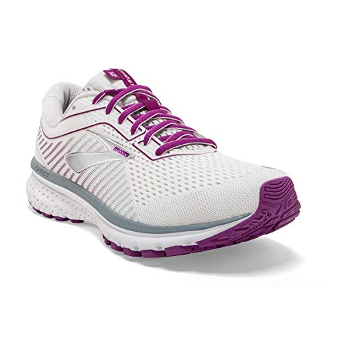 Brooks Womens Ghost 12 Running Shoe - White/Grey/Hollyhock - B - 9.5