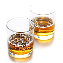 Father's Day Gift Ideas of City Map Whiskey Glasses