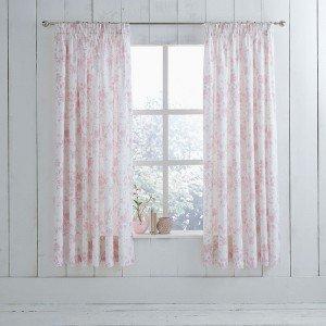 Charlotte Thomas - Tende plissettate con motivo floreale, 168 x 183 cm, colore: bianco e rosa