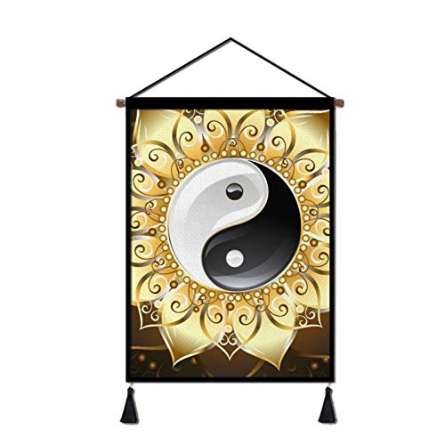 Achujuyou Painting Scroll Poster, Hanging Poster Yin Yang Flower Scroll Poster Painting for Photo Picutre Canvas Artwork Art Print Wall Decor 18x26in