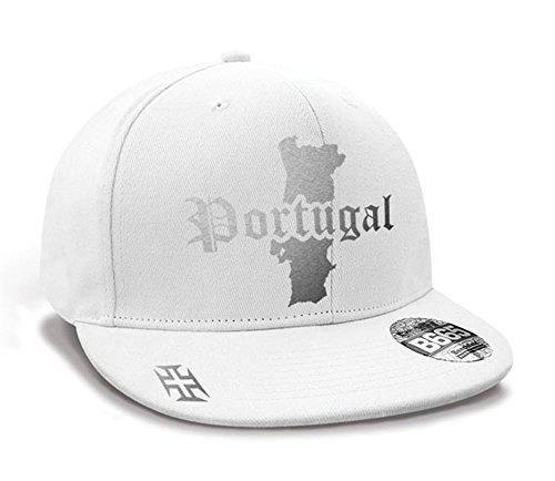 Casquette Hip Hop Portugal Mini Pays Blanc et Argent Métallisé