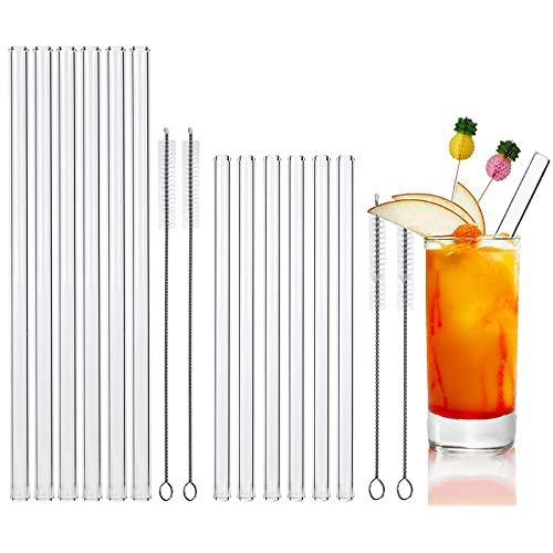 Glasstrohalme,Strohhalm Wiederverwendbar,Strohhalme Glas,Glasstrohhalm mit 4 Reinigungsbürste,Glasstrohhalme Umweltschonend und Gesund-Glas Strohhalm für Cocktails,Smoothie und Bubble Tea (12 Stöcke)