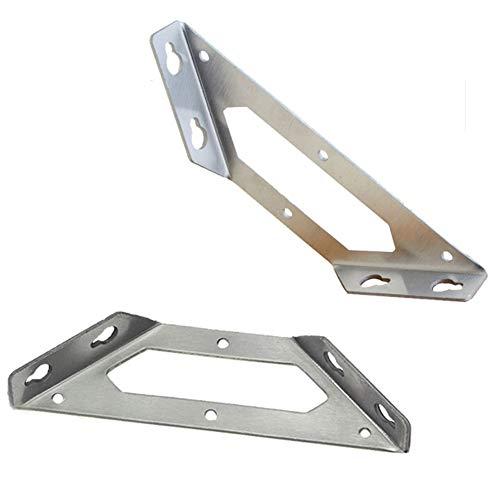 Tiberham - Soporte de esquina de acero inoxidable con brida triangular para muebles, conector de esquina para estante de madera, 2 unidades
