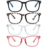 Blue Light Blocking Glasses Square Nerd Eyeglasses Frame Anti Blue Ray Computer Glasses Non Prescription (Leopard+Black+Transparent+Clear Pink)