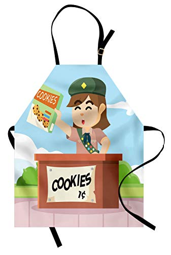 Lunarable Cartoon Apron, Bake Sale Illustration a Scout Girl Selling Cookies Art, Unisex Kitchen Bib with Adjustable Neck for Cooking Gardening, Adult Size, Blue Rust