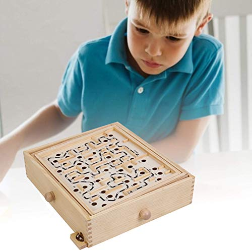 NAMEI Wood Labyrinth Table Maze-Large Wooden Maze Board Game-Challenging Balance Board Table Maze Puzzle Solitaire Toy with 2 Steel Ball for Kids and Adults (60 Hole)