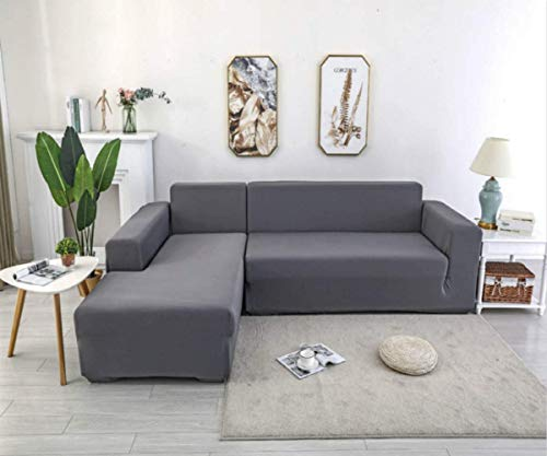 X-ZBS Sofabezug,L-förmiges Ecksofa mit elastischem elastische Stretch Sofabezug(L-förmiges Ecksofa sollte Zwei kaufen) (4 sitzer:230-300cm, Grau)