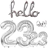 Globos Número 23 32 Decoración de Cumpleaños Plateado Gigante Foil Globo 40 pulgadas y 16 pulgadas Letras conectadas Hello Globos para hombres Mujeres Decoración de Fiesta de Aniversario