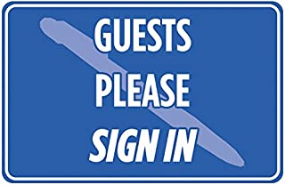 Guests Please Sign In Blue Print Notice Cashier Poster Office Visitor School Business Sign Large - 6 Pack, 12x18