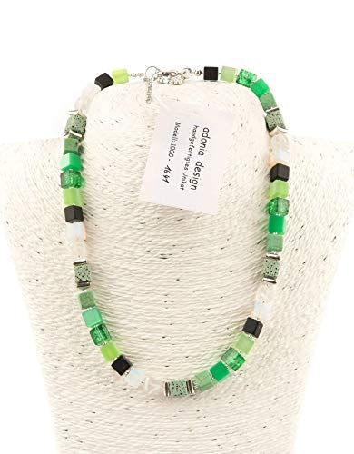 AdoniaMode Damen Würfelkette : Würfel-Perlen aus Kunststoff, Lavawürfel,Metallperlen, Collier 8mm, 49cm lang Fb: Grün-Töne Creme Weiß, Handgefertigtes Unikat 1641