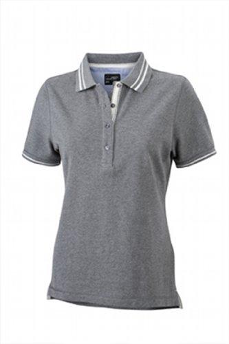 JAMES & NICHOLSON Poloshirt Ladies' Lifestyle Polo de Maternité, Gris (Grey-Melange/Off-White), (Taille Fabricant: Small) Femme