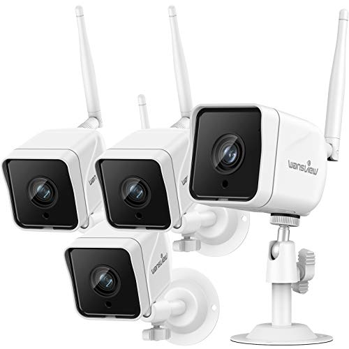 Security Camera Outdoor , Wansview 1080P Wired WiFi IP66 Waterproof Surveillance Home Camera with Motion Detection, 2-Way Audio, Night Vision,SD Card Storage and Works with Alexa W6-4PACK (White)
