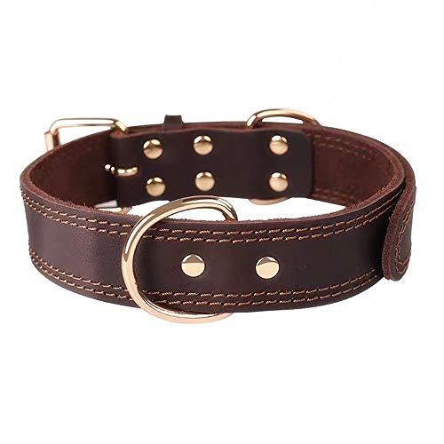Premium-Hundehalsband aus Leder, mit graviertem Namensschild, personalisierbar, weiche Haptik, strapazierfähiges Echtleder, verstellbar, perfekt für kleine, mittelgroße, große Hunde - 2