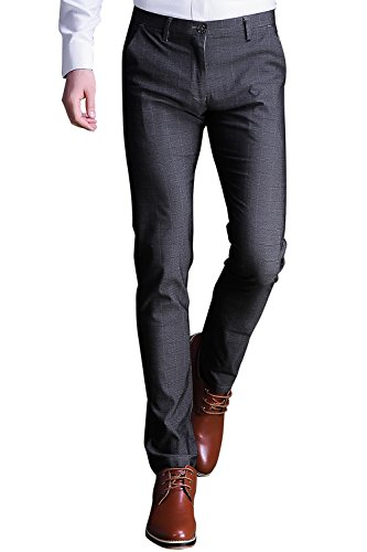 INFLATION Mens Plaid Dress Pants, Wrinkle-Free Stretch Slim Fit Elastic Suit Pants Trousers,Gray Pants Size 32