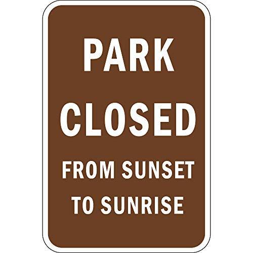 qidushop Park Closed from Sunset Sunrise 25x35 Aluminium Metallschild Geschenk Outdoor Metall Lustiges Aluminium Schild Wandschild Dekoration für Garage Haus Hof