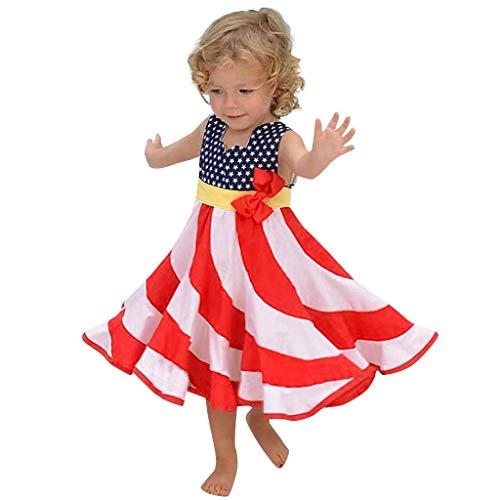 Julhold Kleinkind Baby Mädchen ärmellos 4. Juli Sterne und Dot Print patriotische Kleid Kleidung Sommer lässig, täglich