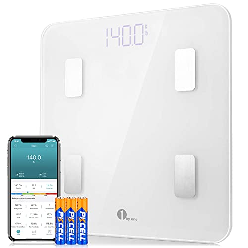 1 BY ONE Bluetooth Body Fat Scale, Smart Wireless Digital BMI Bathroom Weight Scales, 14 Body Composition Measurements, Accurate Weighing Machine, Works with iOS & Android Devices, App Support, 400lbs, White