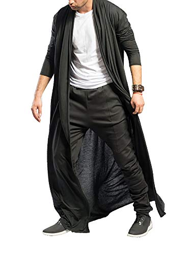 Men's Ruffle Shawl Collar Cardigan Jackets Open Front Outerwear Cotton Long Drape Cape Poncho Trench Coat Black