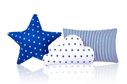 Juego de 3 cojines decorativos Amilian® con forma de estrella y nube