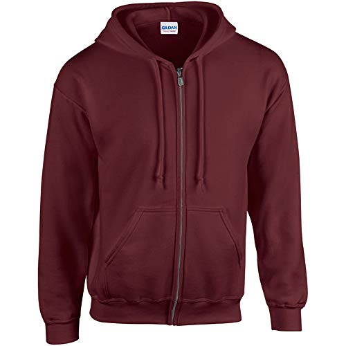 Gildan Adult Heavy Full-Zip Hooded Sweatshirt, Maroon, Large