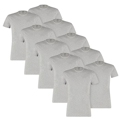 PUMA Herren Basic Crew Shirt - 5x2 Shirts (10er Pack) - middle grey melange (758) - S