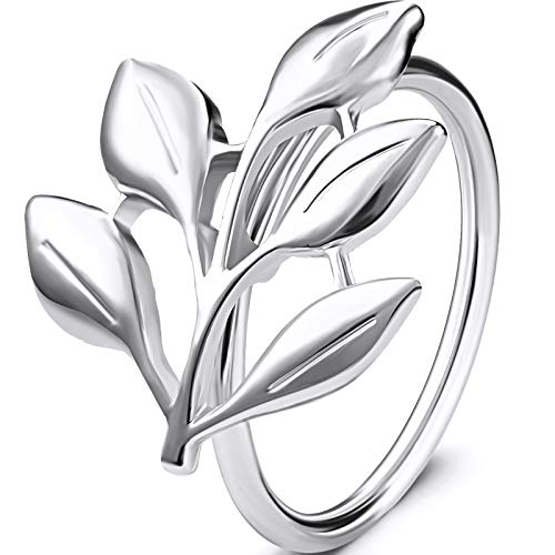WILLBOND Leaf Napkin Rings Holders Fall Party Napkin Rings for Christmas Thanksgiving Parties, Wedding Adornment, Table Decoration Accessories (Silver, 6)