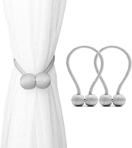 Emoly Magnetic Curtain Tiebacks,The Most Convenient Drape Tie Backs,Decorative Rope Holdback Holder for Small, Thin or Sheer Window Drapries,2 Pack- Silver Grey (B07Q9BFDY3)