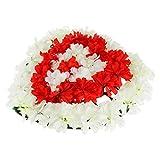 joyMerit Memorial Grave Artificial Heart Wreath Arrangement Cemetery Tombstone Saddle - Red