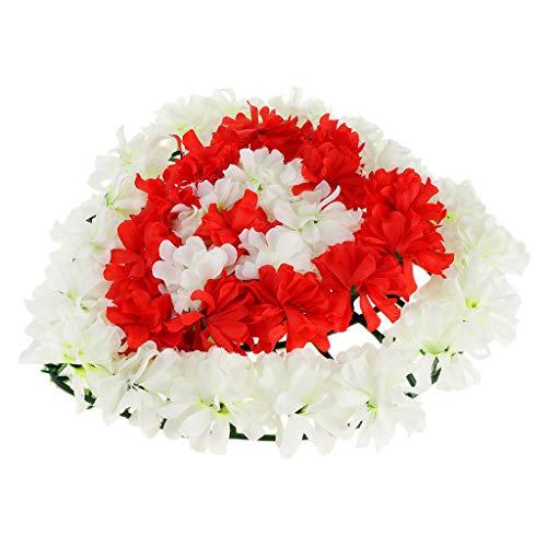 Chrysantheme Kranz Grabblumen Grabschmuck Dekoration für Totensonntag Allerheiligen und Trauerfeier, Herzform Design - 3
