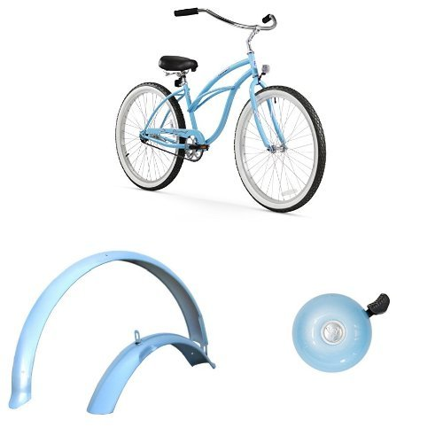 "Firmstrong Urban Lady 26"" 1-Speed Beach Cruiser Bicycle, plus 26"" Fenders, plus Classic Bell, Baby Blue, Bundle"