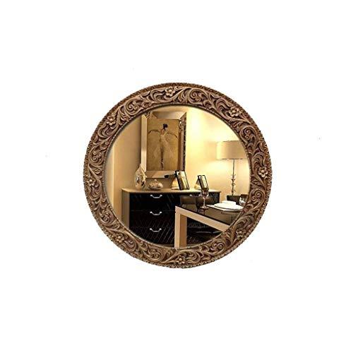 GAXQFEI Maison Décoration Mur Miroir Creux Rétro Miroir, Rond Étanche Salle de N Miroir Fille Maquillage Mural Miroir Antique Salon Fond Mur Miroir Décoratif Maison Entrée Miroir Vanité,E,64.8*64.8Cm