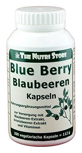 Blue Berry Blaubeeren Kapseln 200 Stk. - Zur Versorgung mit Blaubeeren-Konzentrat, Aroniabeeren-Extrakt und Vitaminen