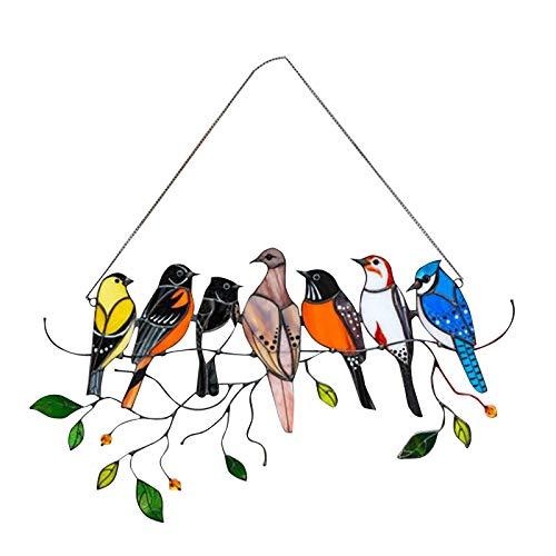 AmazingDays Sonnenfänger Vogel Anhäner Fensterdeko Farbiger Vogel Deko Zum Aufhängen Mit Kette Für Fenster Garten Tür Außendekoration
