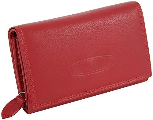 Damen Leder Geldbörse - Großes Portemonnaie für Frauen mit RFID-Schutz - viel Stauraum - in praktischer Geschenkbox (Rot)