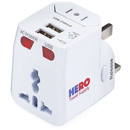 HERO Universal Travel Adapter (2 USB Ports) – Power Plug for US Europe France UK Ireland Thailand NZ Australia 100+ Countries