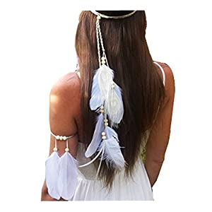 Juego de 2 diademas de plumas bohemias blancas con brazalete Gypsy Hippie Peacock Headwear Tocado Mujer Niñas Accesorios… | DeHippies.com