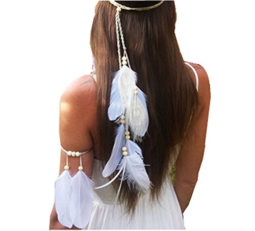 Suoirblss Set of 2 White Bohemian Feather Tassels Headband with Armband Gypsy Hippie Peacock Headwear Headdress Woman Favorite Hair Accessories