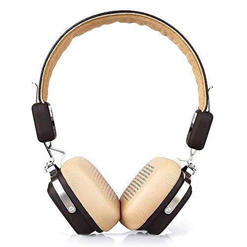 Elbe ABT001K - Auricular bluetooth Hi-Fi con micrófono, plegable, bateria litio recargable, ligero, diámetro 40 mm, hasta 20 horas reproducción, color crema
