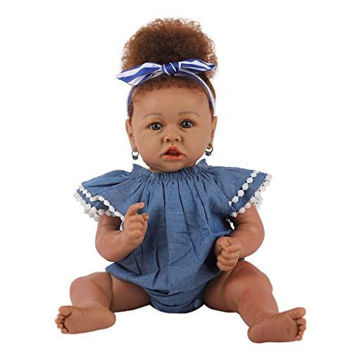 Supefriendly Reborn Baby, Realista Silicona mueca Africana Lavable, como recin Nacido Reborn nio pequeo Chupete magntico nio nia Juguetes, 23 Pulgadas