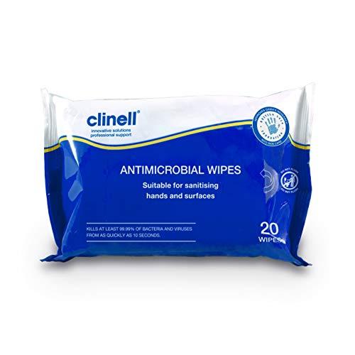 Clinell Toallitas antibacterianas aptas para manos y superficies – dermatológicamente probadas, mata el 99,99% de los gérmenes, paquete de 20 toallitas