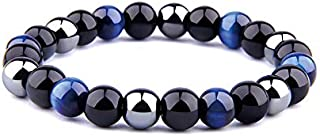 REBUY® Natural Stone Blue Tiger Eye & Hematite & Black Tourmaline High Grade Natural Stone Bracelet Jewelry 8 mm for Men &...