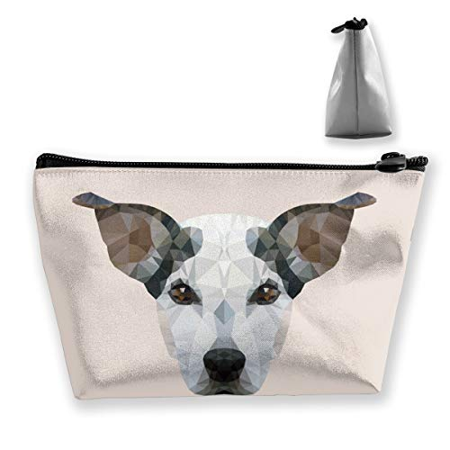 Osmykqe Jack Russel Dog Portrait Cosmetic Organizer Brush Bag Makeup Train Case